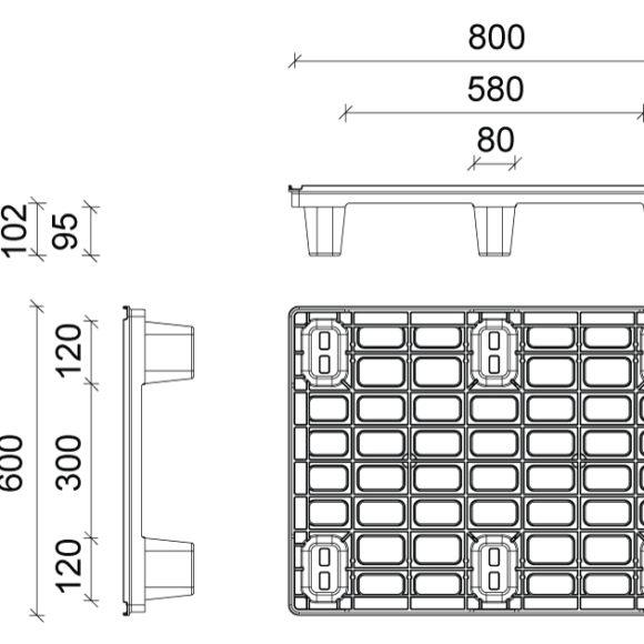 AP 6080 egyutas műanyag raklap Szerkezeti ábra