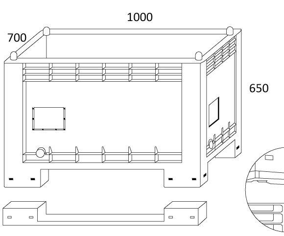 CTFI REG zárt oldalú box-konténer Szerkezeti ábra