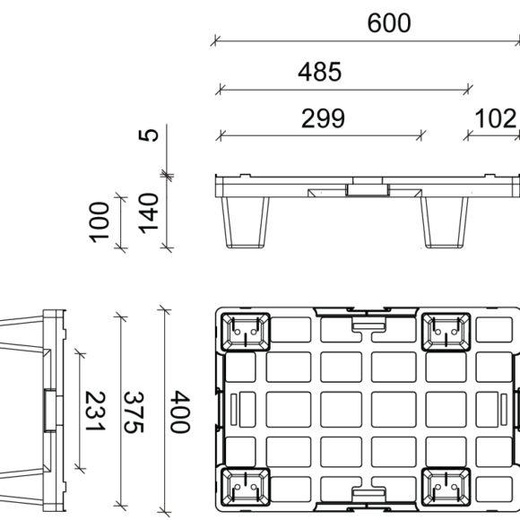 IP 6040 könnyű műanyag raklap