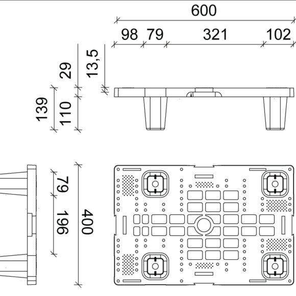 K 6040 negyed műanyag raklap szerkezeti ábra