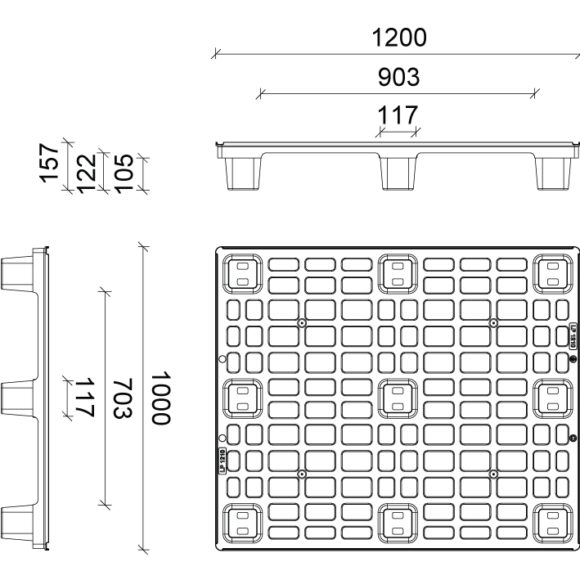 LP 1000 egyutas műanyag raklap Szerkezeti ábra