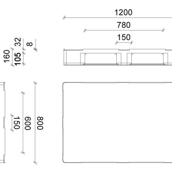 ST 3E tisztatéri zárt műanyag raklap szerkezeti ábrája