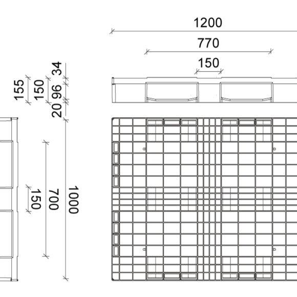 STAD 1210 műanyag raklap Szerkezeti ábra